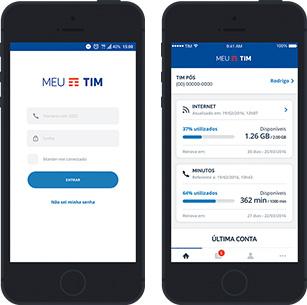 Celular mostrando a tela inicial do aplicativo Meu Tim